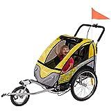 FROGGY Kinder Fahrradanhänger 360° Drehbar mit Federung + Joggerfunktion + 5-Punkt Sicherheitsgurt, 2in1 Anhänger für 1 bis 2...